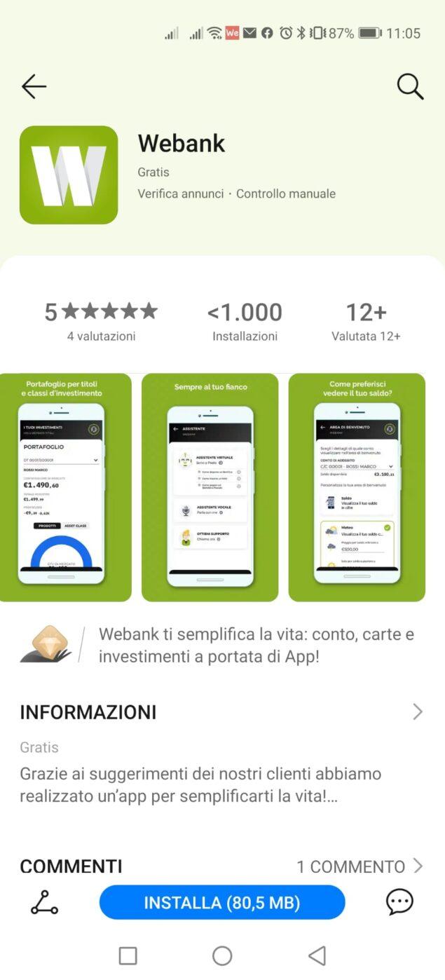 appgallery webank immuni supporto