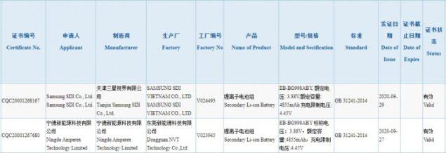 samsung galaxy s21 ultra batteria certificazione 3c m11 disponibile