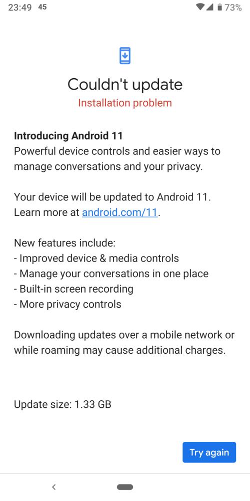 google pixel 3a problema aggiornamento android 11