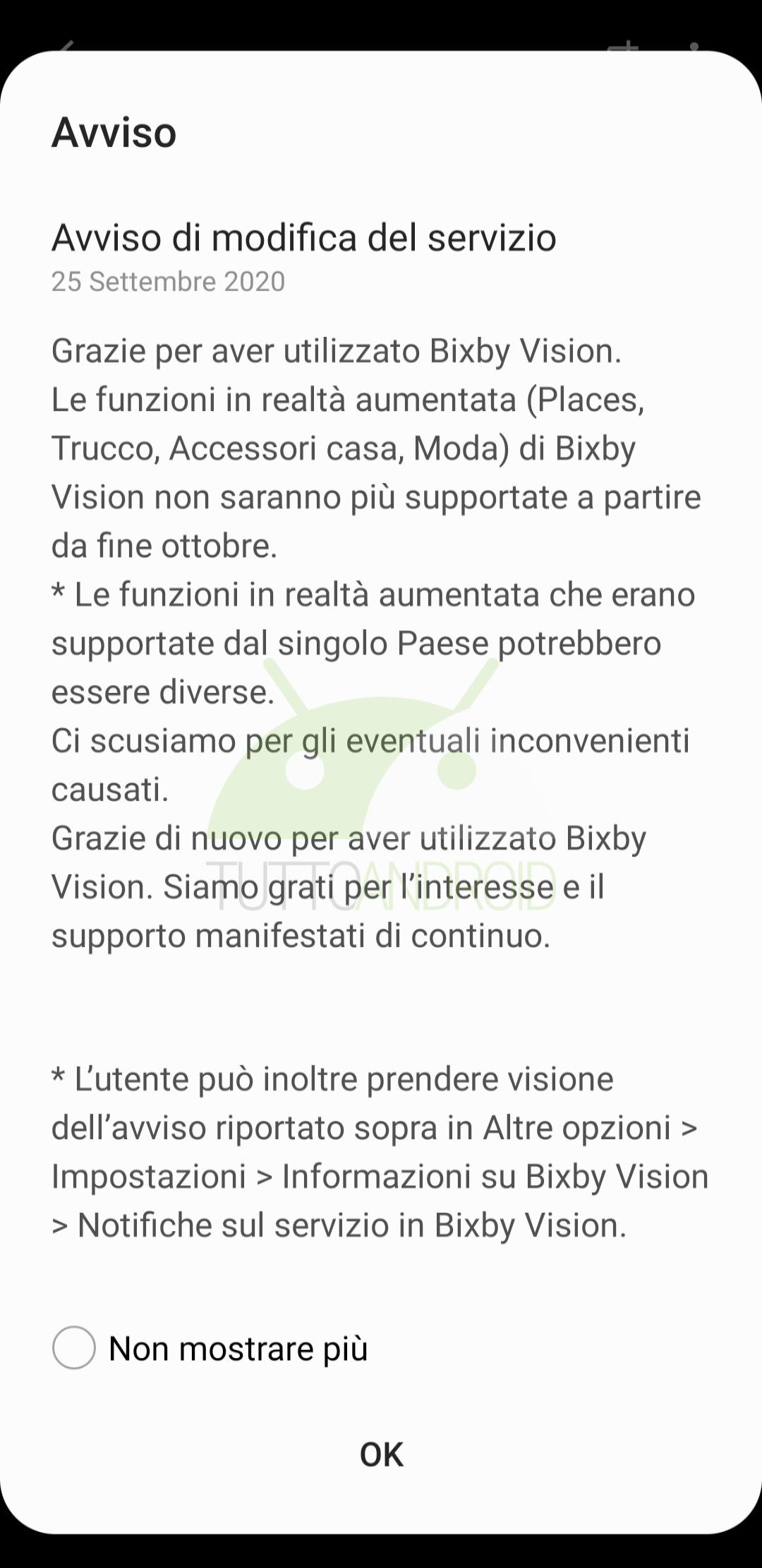 interruzione servizi AR Bixby Vision