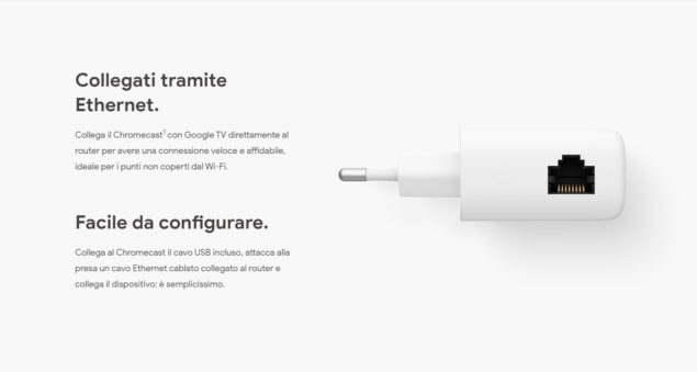 adattatore ethernet google chromecast con google tv disponbile acquisto italia