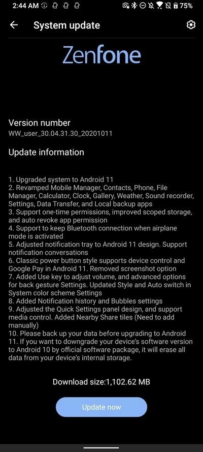 asus zenfone 7 pro android 11 beta 1 aggiornamento
