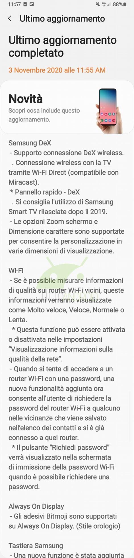 Samsung Galaxy Note 9 aggiornamento One UI 2.5