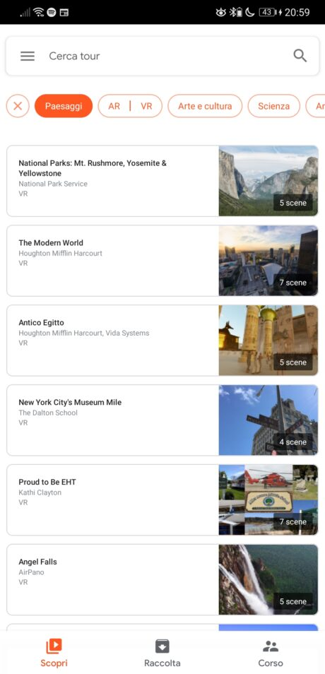 Google Expeditions Menu