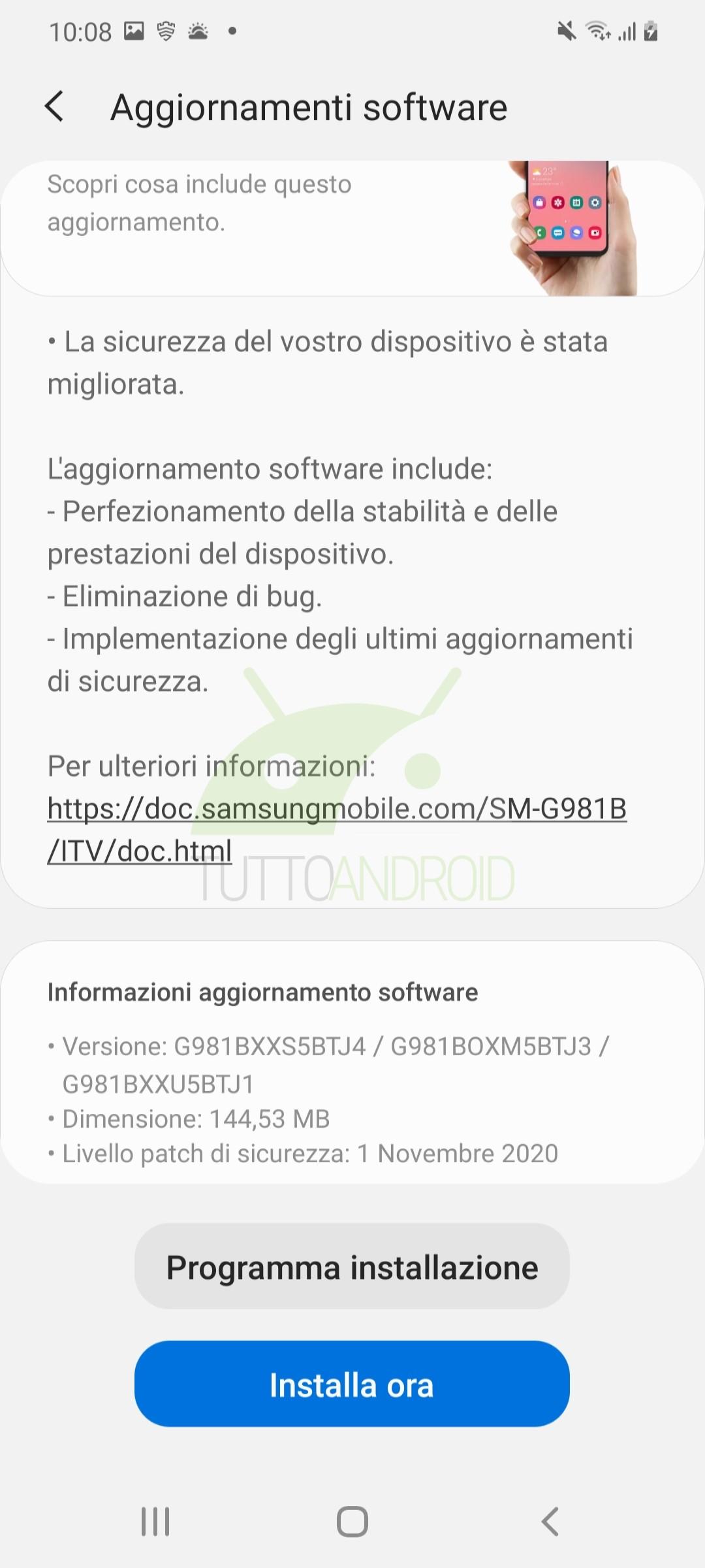aggiornamento Samsung Galaxy S20 patch di sicurezza novembre 2020