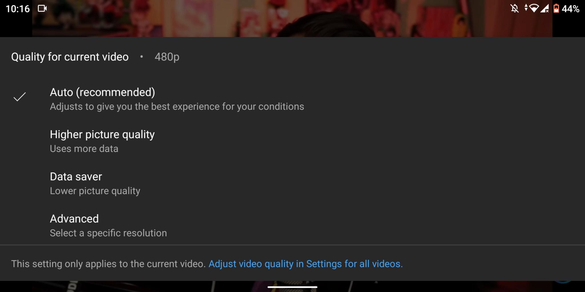 risoluzione youtube