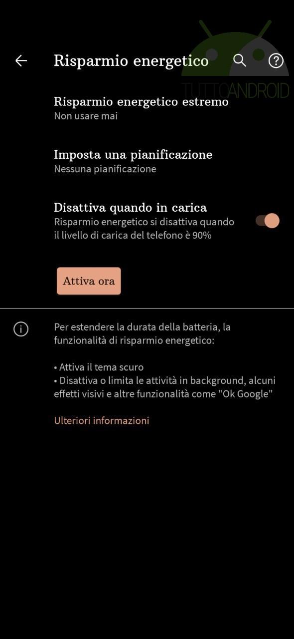 battery drain Android - risparmio energetico