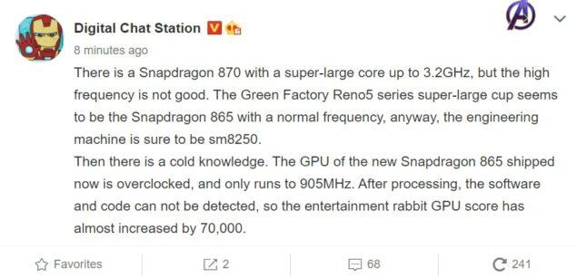 qualcomm snapdragon 870 rumor