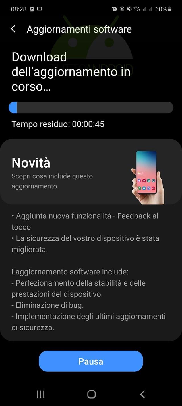 aggiornamento Samsung Galaxy A51 patch dicembre 2020