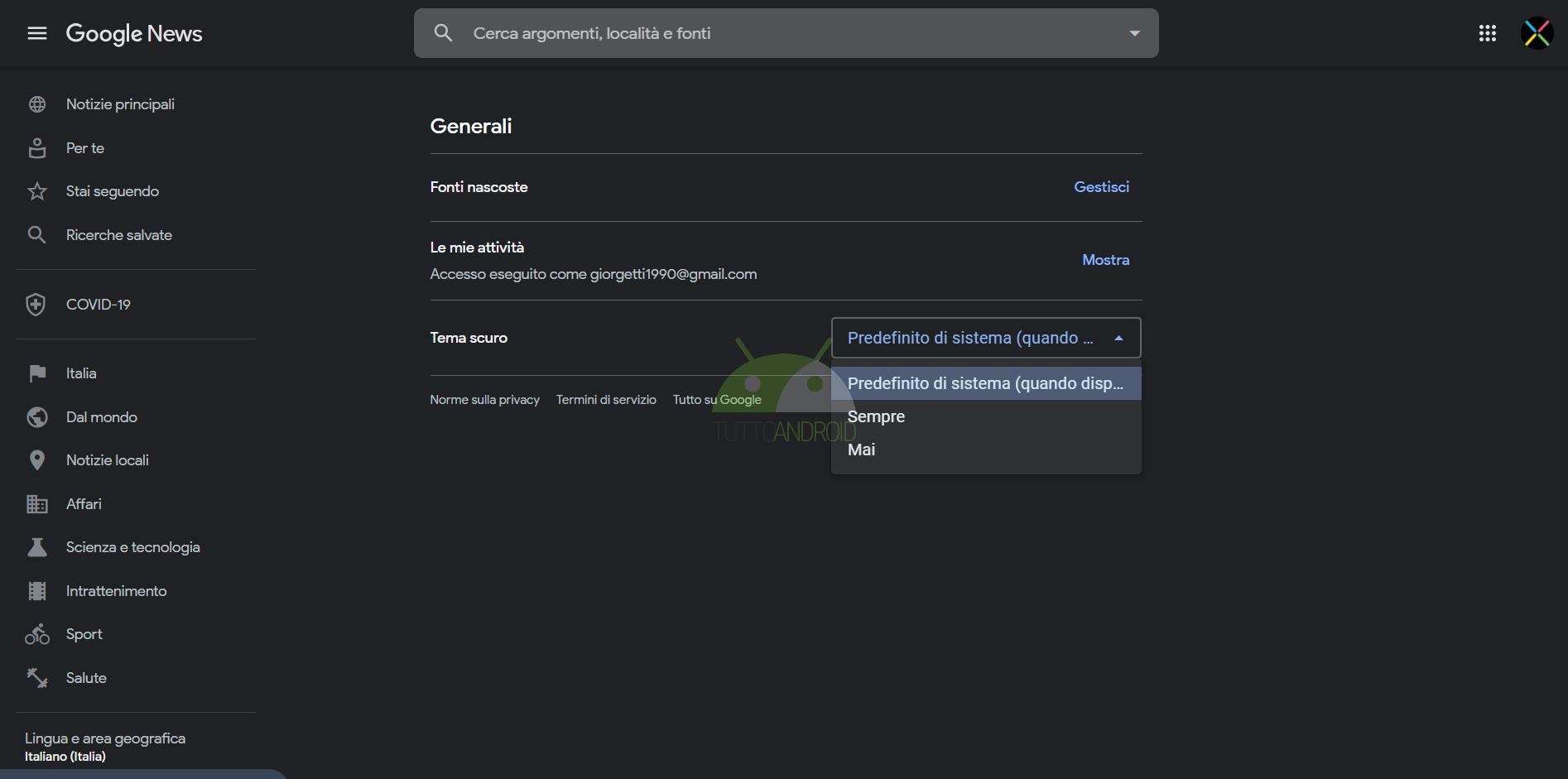 come attivare tema scuro Google News web