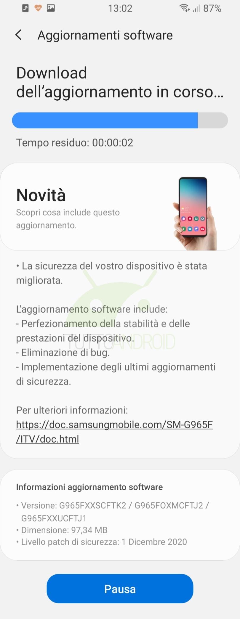 Samsung Galaxy S9+ aggiornamento patch di sicurezza dicembre 2020