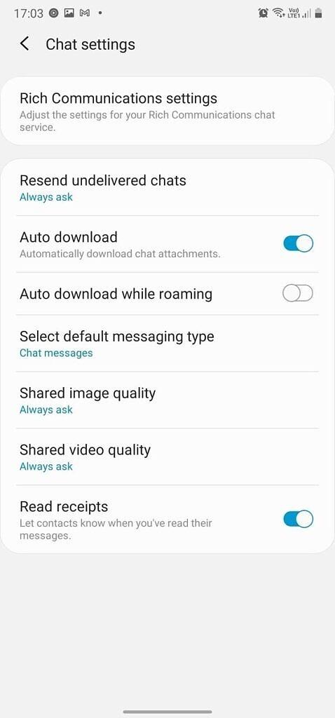 google rcs samsung messaggi supporto