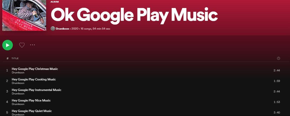 Spotify Ok Google Play Music