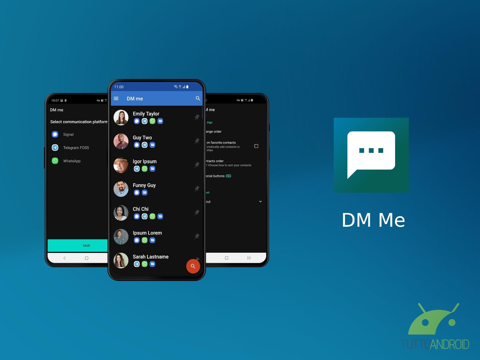 DM Me seleziona automaticamente l'app giusta per inviare messaggi