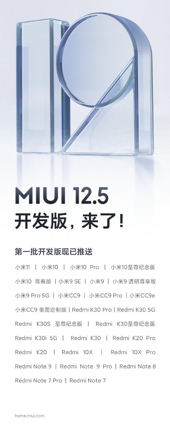 open beta MIUI 12.5 smartphone supportati