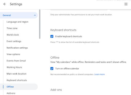 google calendar offline supporto