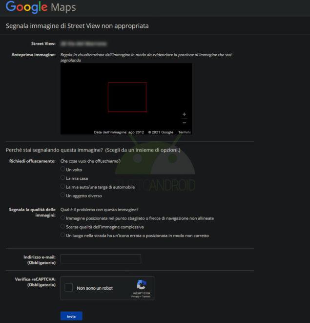 google maps oscurare abitazione stree view