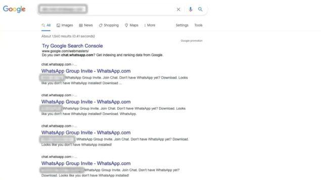 whatsapp chat gruppo private ricerca google