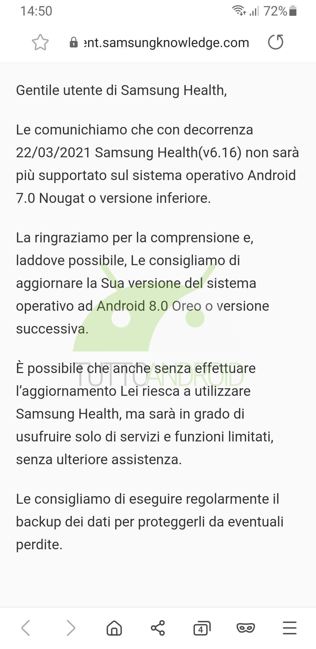 Samsung Health fine supporto android 7