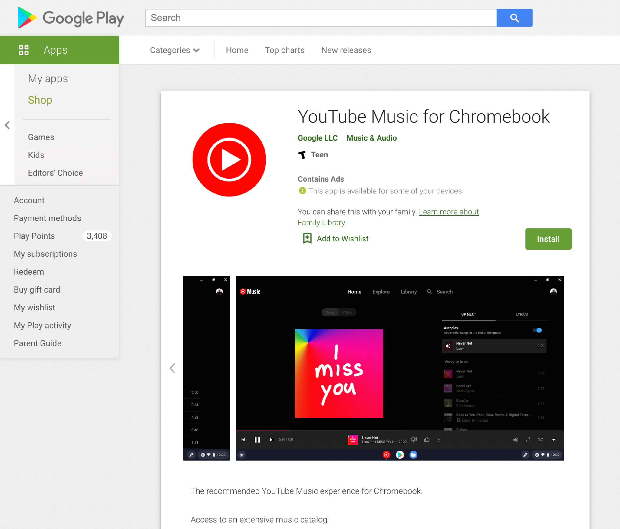 YouTube Music Chromebook PWA