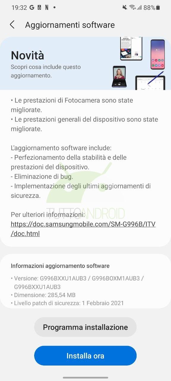 Samsung Galaxy S21 aggiornamento patch febbraio 2021