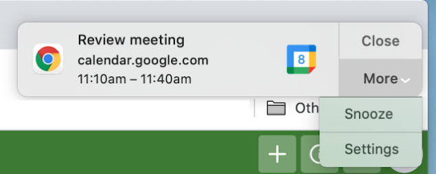 Google calendar notifica