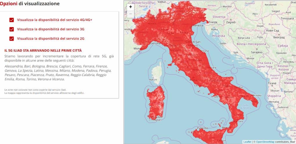 Mappa copertura Iliad