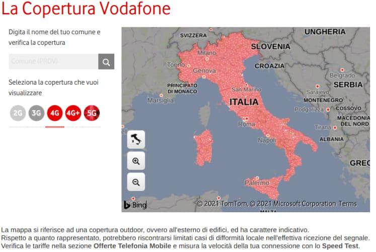 Verifica della copertura Vodafone della rete mobile