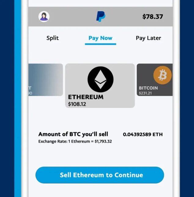 PayPal pagamenti criptovalute