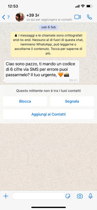 whatsapp codice 6 cifre sms truffa