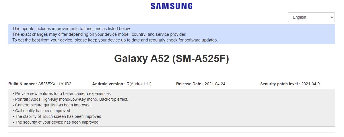 samsung galaxy a52 aggiornamento