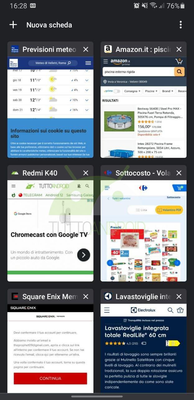 google chrome gruppo tab cambio