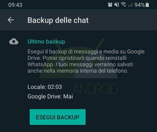 whatsapp messaggio backup locale