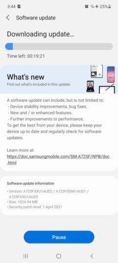 Samsung galaxy a72 aggiornamento