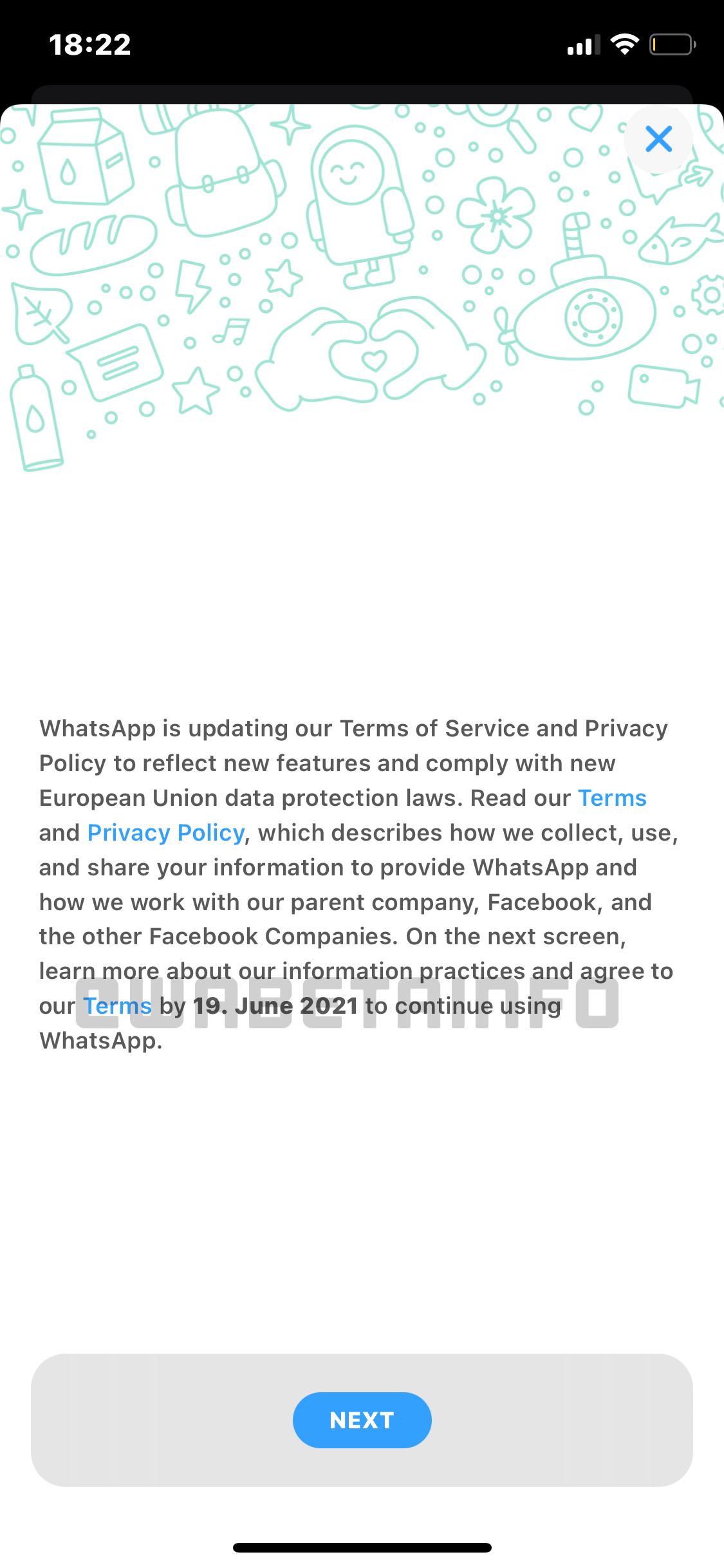whatsapp termini di servizio 19 giugno