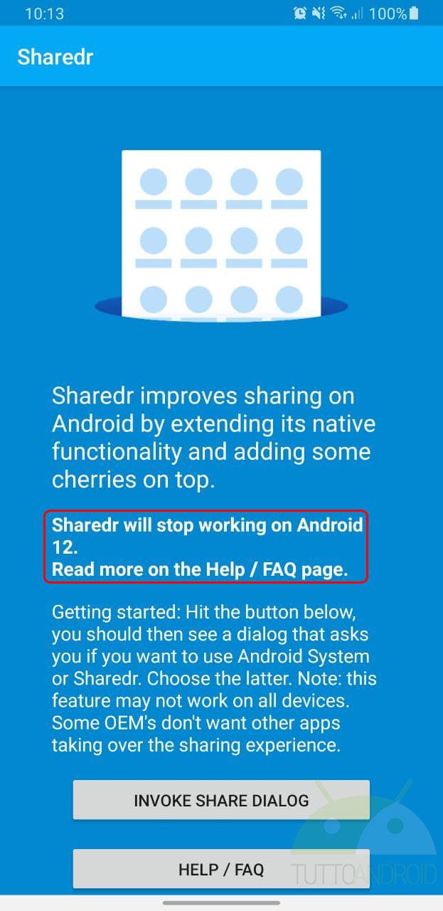 android 12 menu condivisione app di terze parti blocco