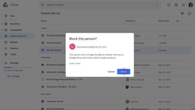 google messaggi drive otp 2fa spam novità