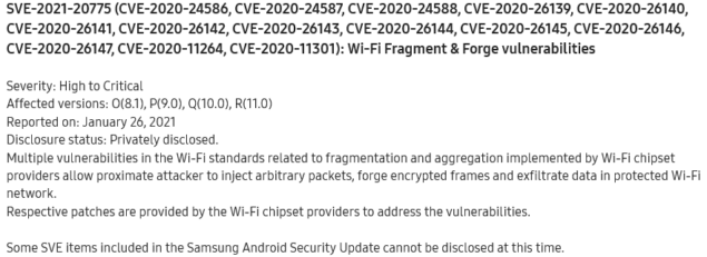 samsung galaxy a50 huawei p30 wi-fi frag attack patch aprile marzo aggiornamento