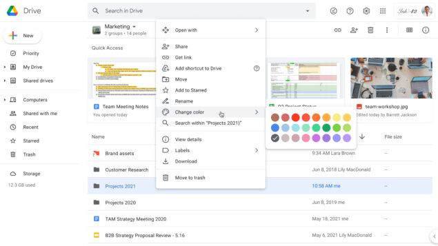 google drive fit cartelle colore camminata a ritmo