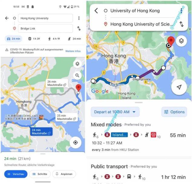 google maps pianificazione itinerario ui aggiornamento leak