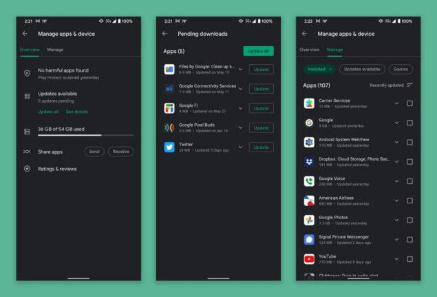 google play store aggiornamento gestione applicazioni novità