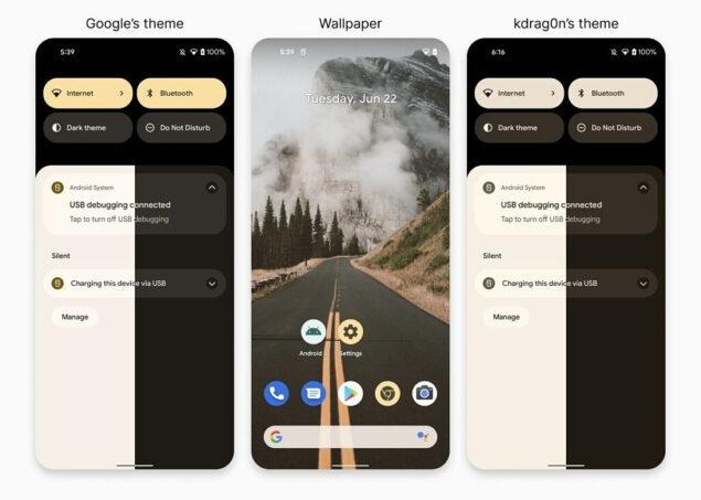 material you monet android 12 tema sviluppatore esterno novità