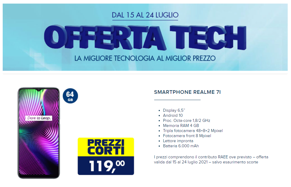 Realme 7i Offerta Tech Esselunga