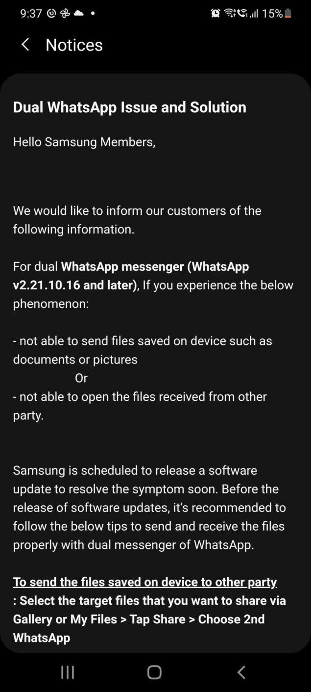 samsung whatsapp doppio account bug novità