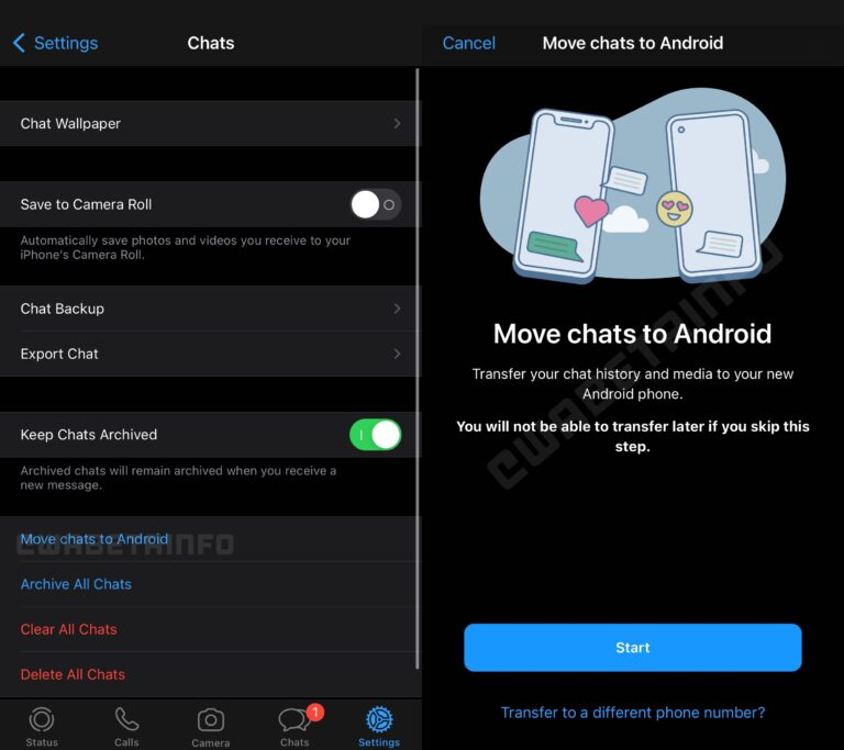 whatsapp trasferimento chat ios android