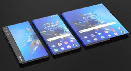 huawei smartphone display arrotolabile render 3d