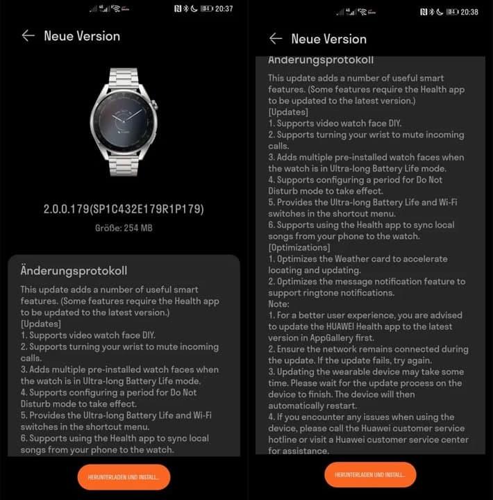huawei watch 3 pro aggiornamento