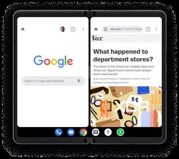 google pixel fold android 12.1 split-screen taskbar