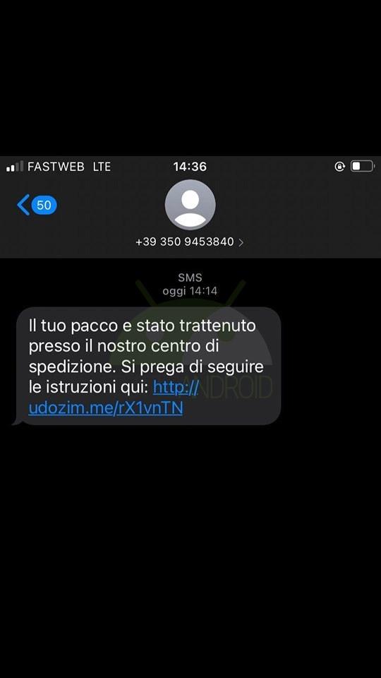 dhl phishing sms settembre 2021