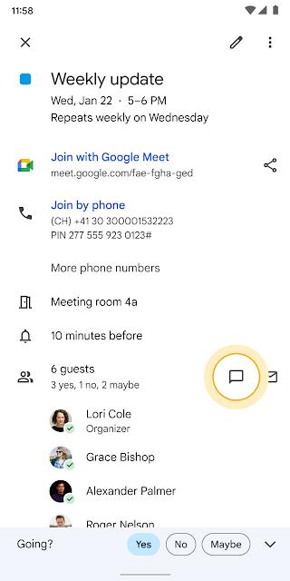 google calendar chat integrazione novità